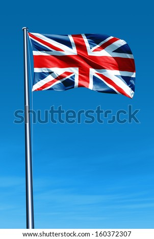 The British flag waving on the wind - stock photo