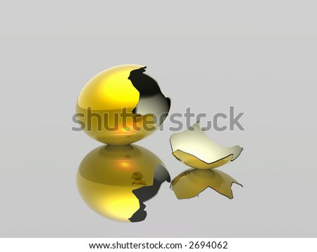 The broken egg. A birth of a new life. 3D rendering. - stock photo
