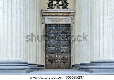 The bronze doors and the colonnade  of the Kazan Cathedral  in Saint-Petersburg, Russia (soft focus processing) - stock photo