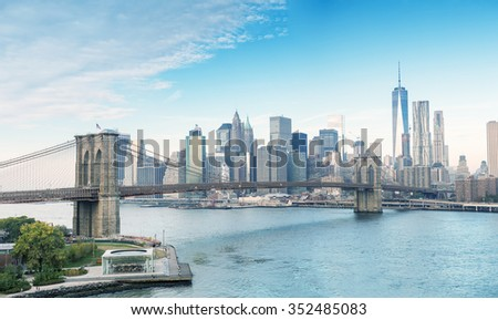 The Brooklyn Bridge and Downtown Manhattan, New York City. - stock photo