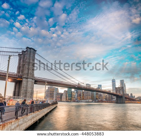The Brooklyn Bridge at sunset, NYC. - stock photo