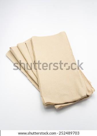 The brown Napkin on table - stock photo