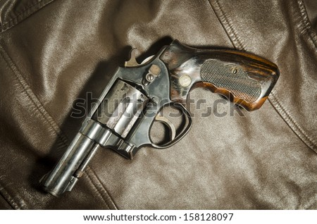 the brown old revolvers - stock photo