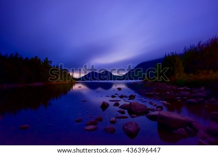The Bubbles and Jordan Pond at night in Acadia National Park, Maine, USA. - stock photo