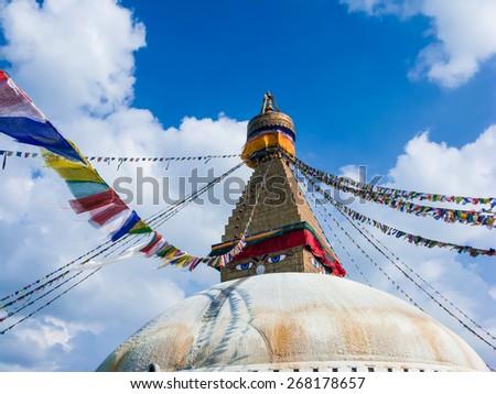 The Buddhist shrine of Swayambhunath in Kathmandu. - stock photo