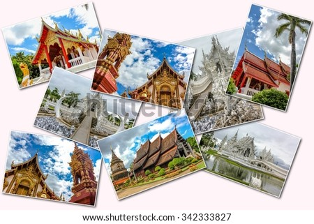 The Buddhist temples collage of several famous locations landmarks of Buddhist temples in the old city of Chiang Mai, Northern Thailand, Asia. Isolated on white background. - stock photo