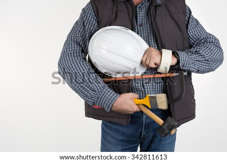 The builder on the isolated white background - stock photo