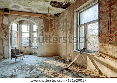 The building Masonic Lodge in ruins - stock photo