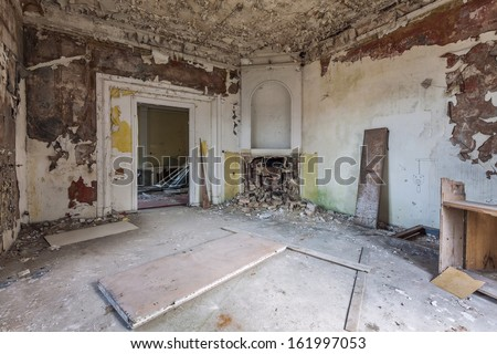 The building Masonic Lodge in ruins, Gdansk - Poland. - stock photo