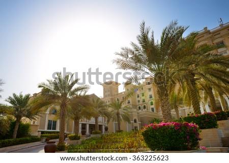 The building of luxury hotel and sunset, Dubai, UAE - stock photo