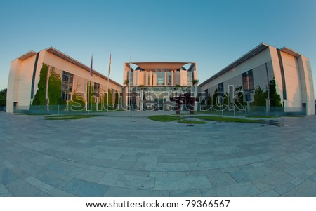 The Bundeskanzleramt (Kanzleramt), famous landmark in Berlin - Chancellery is the seat of the German federal government and the residence of the German Bundeskanzler - stock photo