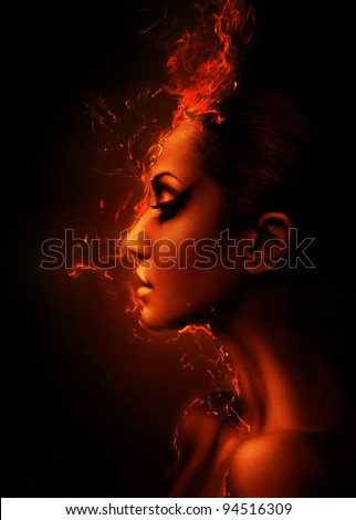 the burning woman head profile - stock photo