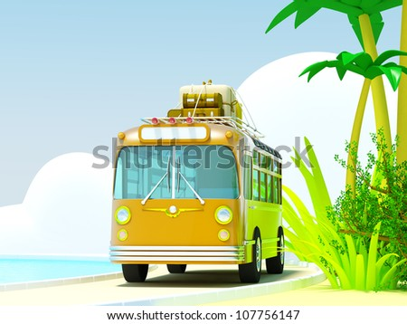 The bus traveling on a tropical beach, roof bags and boxes. The sea and clouds. 3d picture in bright cartoon style. - stock photo