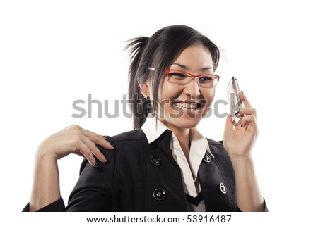 The business girl answers a call - stock photo
