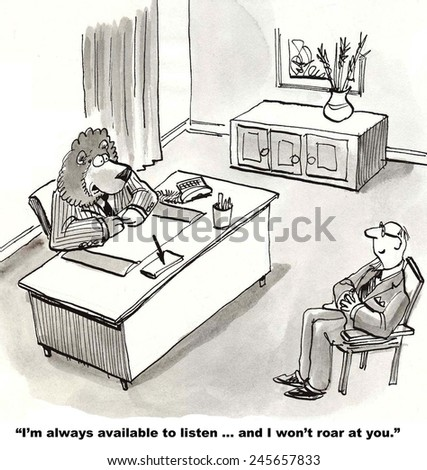 The business leader is encouraging communication, and he will not roar. - stock photo