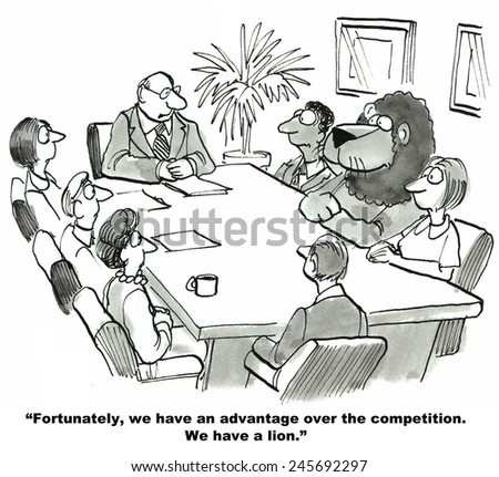 The business team has an advantage over the competition, they have a lion. - stock photo