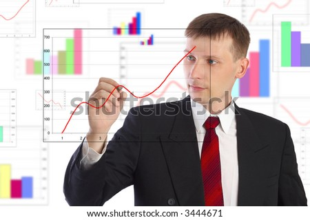 The businessman draws the schedule. - stock photo