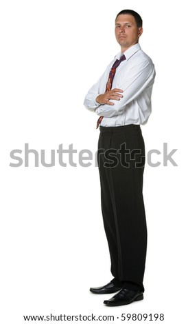 The businessman in a shirt and a tie. It is isolated on a white background - stock photo
