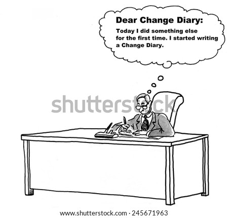 The businessman is becoming familiar with change by writing a change diary. - stock photo