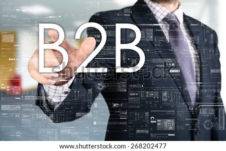 the businessman is choosing B2B from touch screen - stock photo