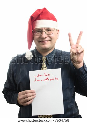 The businessman shows the own wish list and a symbol of a victory - stock photo