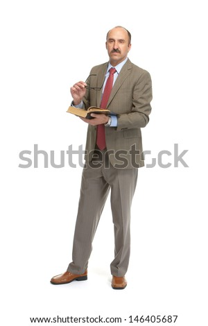 The businessman with the book on a white background - stock photo