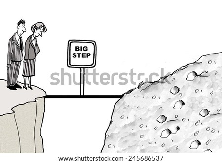 The businesspeople have encountered a large, unexpected problem that will require a 'big step' to cross and solve.  - stock photo