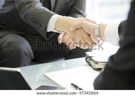 The businesswoman who confirms a document - stock photo