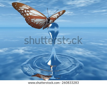 the butterfly and the drop of water - stock photo