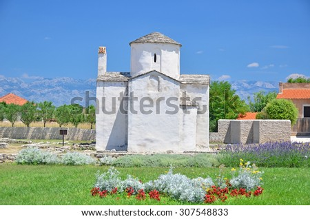 The byzantine church of the Holy Trinity, in Nin, near to Zadar in Croatia. Built in the 9th century - stock photo