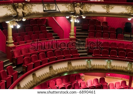 The Célestins theater was built between 1877 and 1890 by Gaspard Andre. it was twice consumed by fire. - stock photo