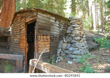 the cabin of Hale Tharp, a miner in the californian gold rush, made from a hollowed out giant sequoia log in Sequoia National Park - stock photo