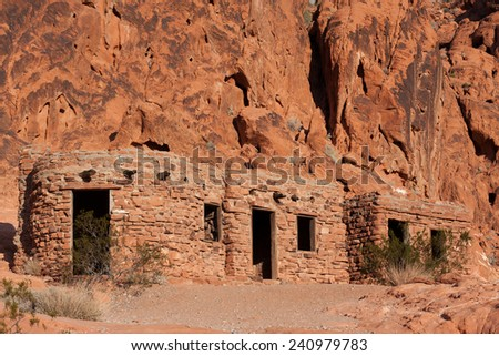 The cabins in Valley of Fire State Park, Nevada - stock photo