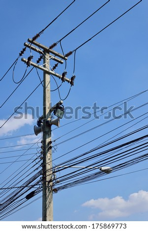 The cable and wires on electricity post - stock photo