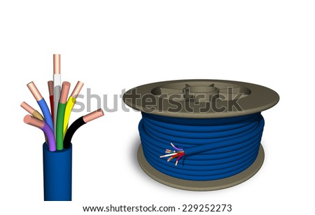 The cable is on the reel on white background. - stock photo