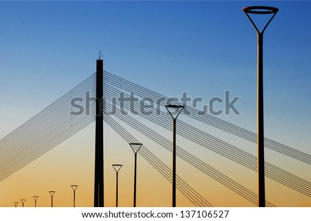 The cable-stayed bridge at sunset. Riga, Europe - stock photo