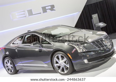 The 2015 Cadillac ELR Electric Hybrid Coupe at The North American International Auto Show January 13, 2015 in Detroit, Michigan.  - stock photo