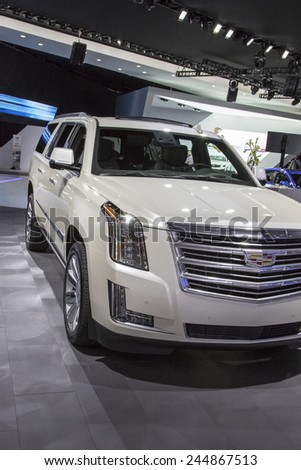 The 2016 Cadillac Escalade at The North American International Auto Show January 13, 2015 in Detroit, Michigan. - stock photo