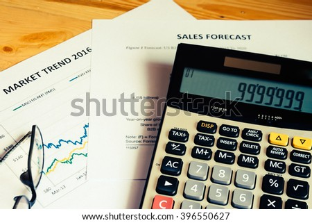 The calculate with market trend with sales forecast analysis - stock photo