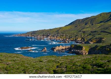 The California Pacific Coastline North of Big Sur - stock photo