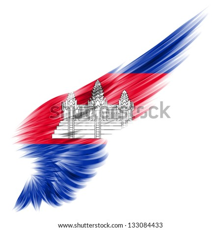 The Cambodia flag on Abstract wing with white background - stock photo