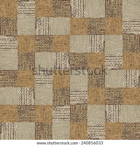 The camel wool fabric texture pattern collage in a chessboard order.Abstract background.  - stock photo