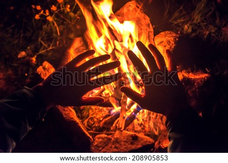 the camping fire on night - stock photo