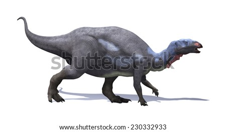 The camptosaurus was plant-eating, beaked ornithischian dinosaur that lived during the Late Jurassic period. - stock photo