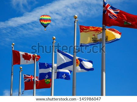 The Canada and its provincial flags in Ottawa - stock photo