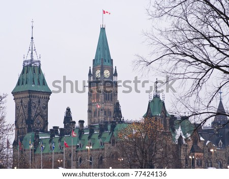 The Canadian Parliament buildings in Ottawa Canada. - stock photo