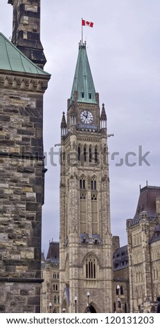 The Canadian Parliament Centre Block at 10 am. - stock photo