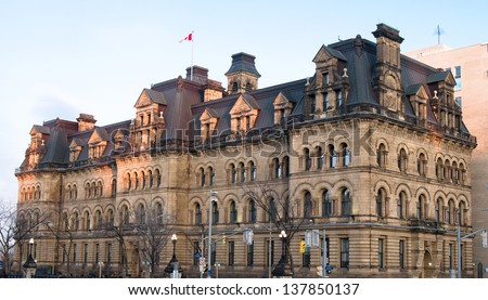 The Canadian Parliament Langevin Block, office of the Prime Minister of Canada (PMO) in Ottawa, Canada. - stock photo