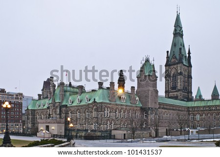 The canadian Parliament West Block building during winter. - stock photo