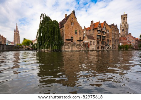 The canals of Bruges - stock photo